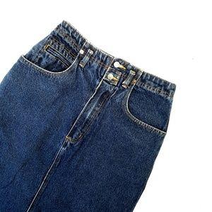 Vintage 90s Jordache Denim High Waisted Midi Skirt